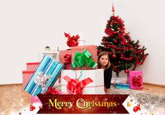 Kids with their christmas presents - stock photo
