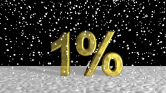 Close up Golden 1% on Snow Graphic Design Stock Footage