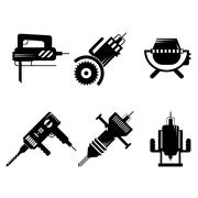 Black icons collection of construction equipment - stock illustration