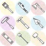 Stylish icons for woodwork tools - stock illustration