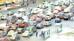 Traffic jam, rush hour in Moscow, Kutuzov Avenue in winter Stock Footage