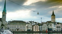 Image of Zurich, capital of Switzerland, zoom Stock Footage