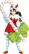 Stock Illustration of Christmas elf Asian girl with Candy cartoon