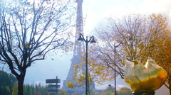 The replica of the one topping the Statue of Liberty, in Paris, pan Stock Footage