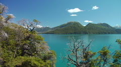 Argentina Lake Scenic - Pan of Lake near Rio Manso Stock Footage