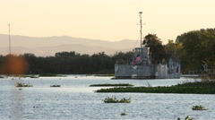 Army Boat Anchored in the California Delta at 240 fps Stock Footage