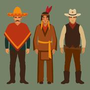 cowboy, indian and mexican - stock illustration