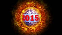 2015 New Year on Fiery Disco Ball Background Stock Footage