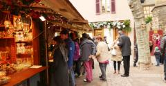People doing Christmas shopping of traditional Christmas sweet bakery products Stock Footage
