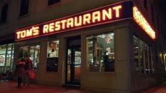 Upper Manhattan Tom's Restaurant Establishing Shot Night Stock Footage