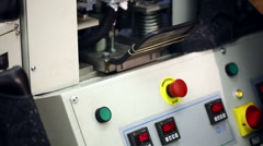 Machine in workshop production of footwear - stock footage