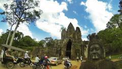 Time lapse of Angkor Thom South Gate with tourists and traffic. Cambodia. 4K Stock Footage