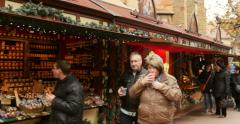 Traditional Christmas Market Stock Footage
