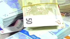 Rotating euro banknotes (not loopable) Stock Footage