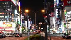 Time Lapse of Shinjuku District at Night - Tokyo Japan Stock Footage