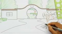 Landscape architect design Chinese garden plan Stock Footage
