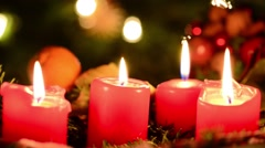Blown out four christmas candles Stock Footage