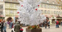 People walking at Christmas Market Stock Footage