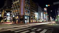 Time Lapse of Night Traffic in the Ginza District  - Tokyo Japan Stock Footage