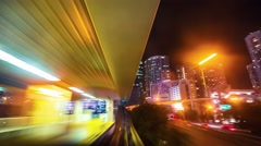 Miami Metromover Timelapse at night (4K) Stock Footage