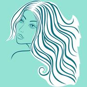 beautiful blond women sketching head - stock illustration
