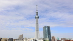 Time Lapse of Skytree Tower in Tokyo Japan Stock Footage