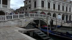 Stock Video Footage of Venice Italy busy canal bridge Gondola ride 4K 014