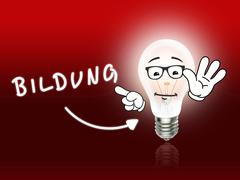 bildung bulb lamp energy light red - stock illustration