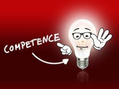 Competence bulb lamp energy light red Stock Illustration