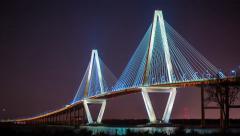 Timelapse of Ravenel Bridge in Charleston, SC (4K) Stock Footage