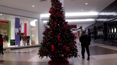 One corner of shopping mall with christmas tree inside building. Stock Footage