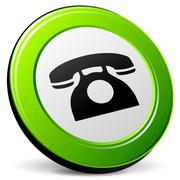 old phone icon 3d - stock illustration