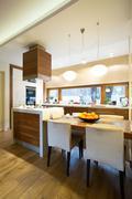 Kitchen interior in modern house Stock Photos