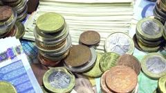 european money (dolly shot) - stock footage