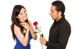 young attratctive couple in love dating - stock photo