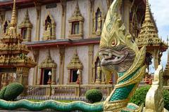 dragon at wat chalong in phuket - stock photo