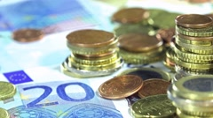 European banknotes and coins (not loopable) Stock Footage