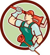 Plumber holding wrench plunger circle cartoon Stock Illustration