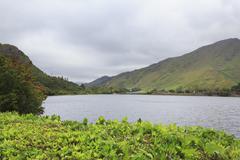 Lake near the Kylemore Abbey. - stock photo