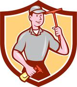 window washer cleaner squeegee shield cartoon - stock illustration