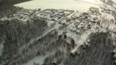 View from hot air balloon of countryside in winter Stock Footage