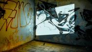 Stock Video Footage of 4K timelapse abandoned building interior graffiti walls light coming through