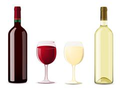 Stock Illustration of bottle and glass with red white wine