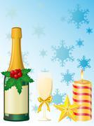Christmas champagne vector illustration Stock Illustration