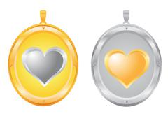 gold and silver pendants - stock illustration
