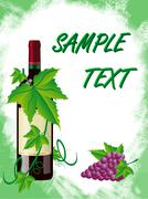 Red wine and grapes is in a green frame Stock Illustration