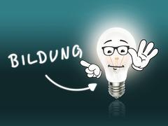 bildung bulb lamp energy light turquoise - stock illustration