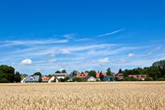 Housing area in rural landscape near munich Stock Photos