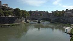 Rome Italy Ponte Vittorio Emanuele II bridge 4K 033 Stock Footage