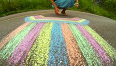 Abstract chalk drawing on the road. Time lapse. - stock footage